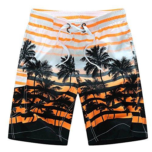 (Men's Printing Quick Dry colorful Stripe Coconut Tree Beach Shorts Swim Trunks-OR-M)