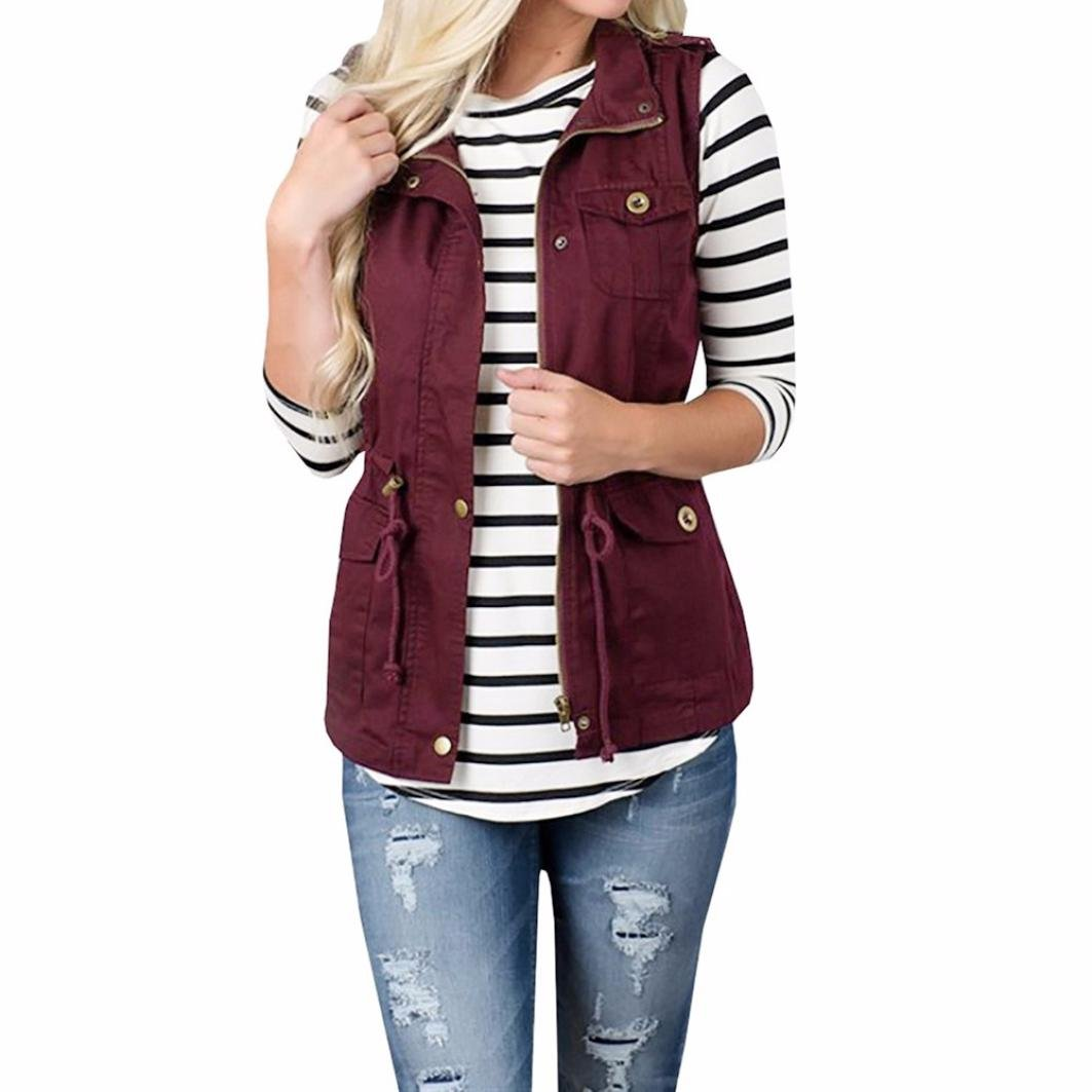Transer Womens Military Safari Utility Stretchy Drawstring Lightweight Vest Jacket With Pocket (Wine Red, M)