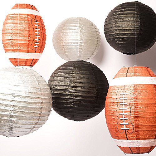- Quasimoon FOOTBALL-CM25 Pro Football Paper Lanterns 6 Piece Party 12 & 14