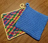 Hand Crocheted Large Square Potholders, Double Thick Cotton, extra dense, set of two, cornflower blue and sunflower yellow with rainbow
