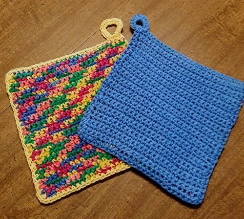 Hand Crocheted Large Square Potholders, Double Thick Cotton, extra dense, set of two, cornflower blue and sunflower yellow with -