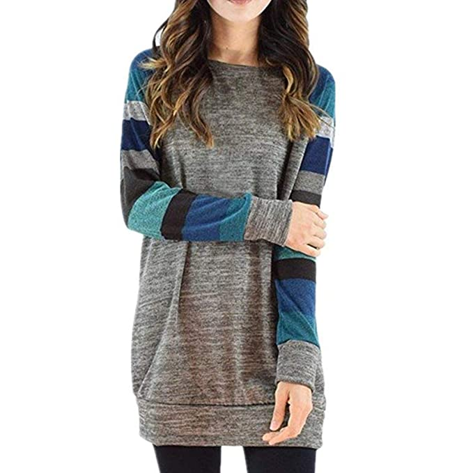 c4c109bc9 PESION Womens Long Sleeve Color Block Knitted Pullover Top Loose  Lightweight Tunic Shirt Tops for Leggings