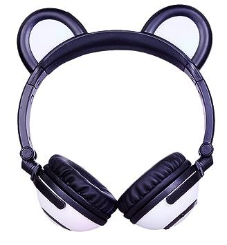 LIMSON Auriculares inalámbricos Bluetooth Plegables, Luz LED Brillantes Recargable Headphones con Oreja de Oso, Headset para Adolescentes Niñas Niños ...