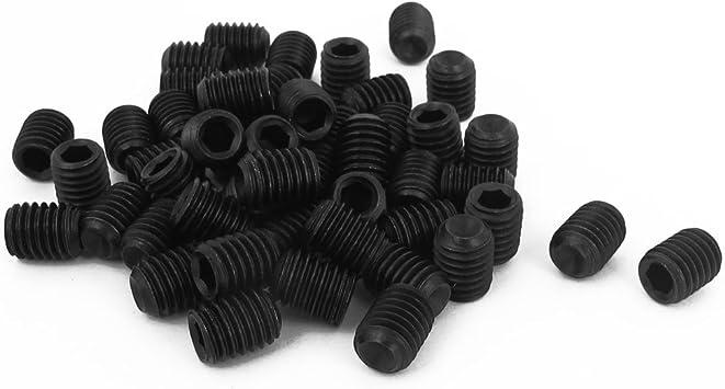 M8 x 10mm Hex Socket Set Cup Point Grub Screws Black 50pcs
