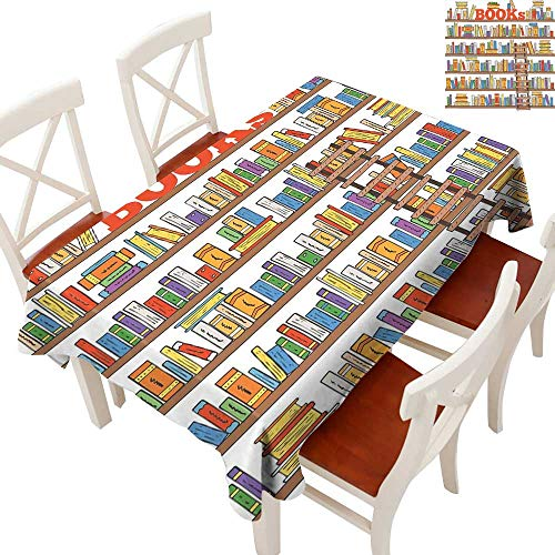 Modern Tablecloth Heavy Weight Library Bookshelf with A Ladder School Education Campus Life Caricature Illustration for Kitchen Dinning Tabletop Decoration Multicolor 54