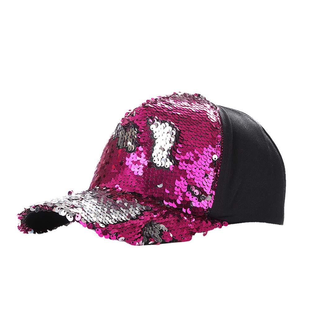 JPOQW Men Women Hats Double Color Mermaid Sequins DIY Adjustable Baseball Cap (Hot Pink A)