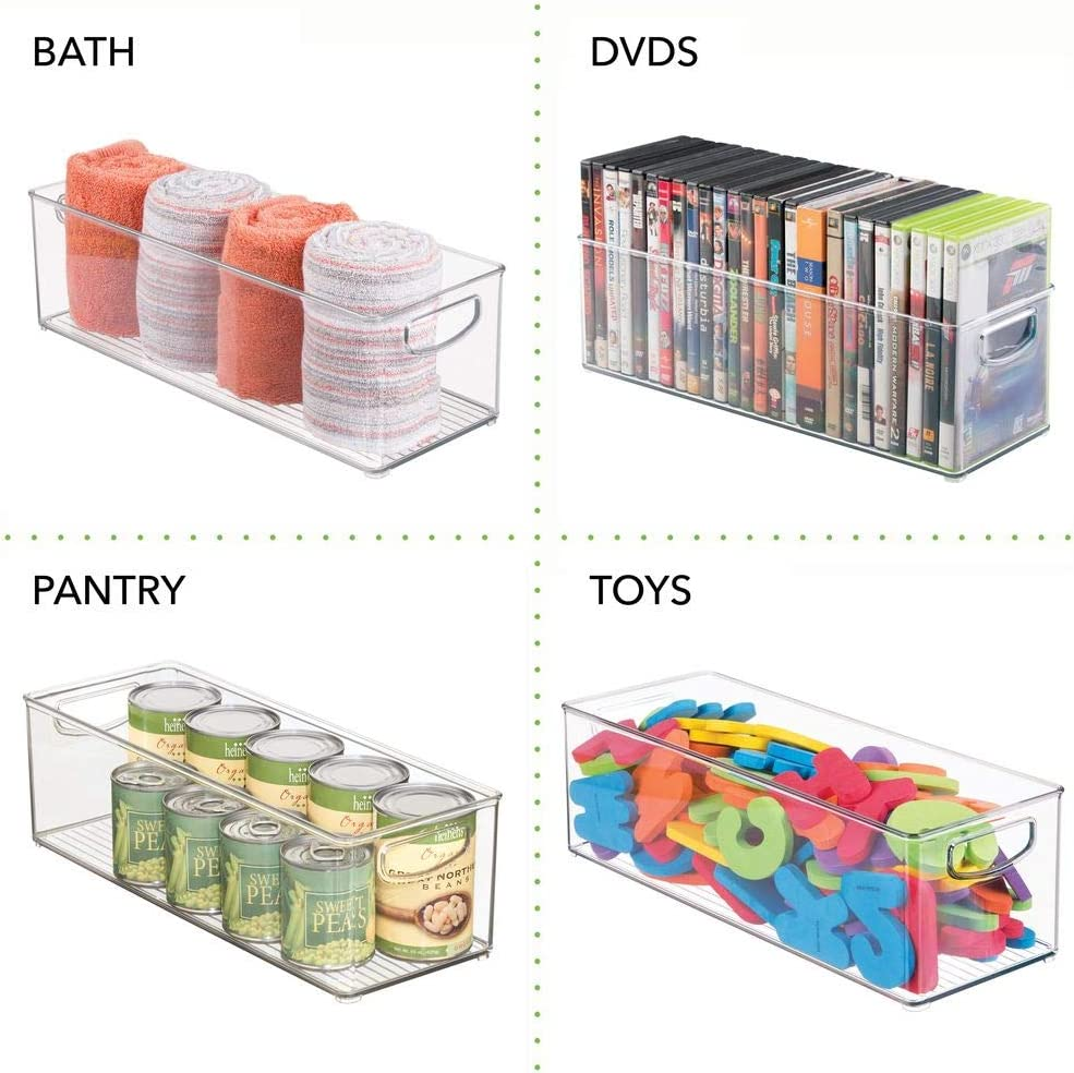 mDesign Stackable Plastic Home Office Storage Organizer Container with Handles for Cabinets for Pens Pencils BPA Free Highlighters Notebooks 4 Pack Clear Workspace 6 Wide Desks Drawers