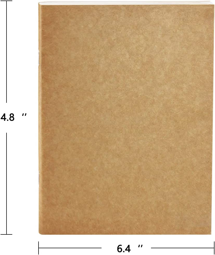 Lined Travel Journal Notebook 6.4 x 4.8 4 Pack Can be Used Alone or as Refills for 7 x 5 Journal Sturdy Kraft Cover-Sturdy Inside Paper-64 Pages//32 Sheets