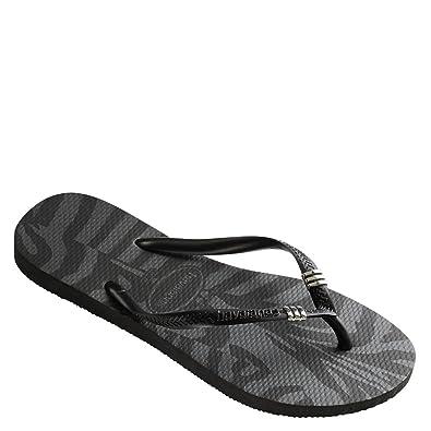 Havaianas Women's Slim Tribal Flip Flops White/Black Sandal 39/40 Brazil (US Men's 7/8, Women's 9/10) M