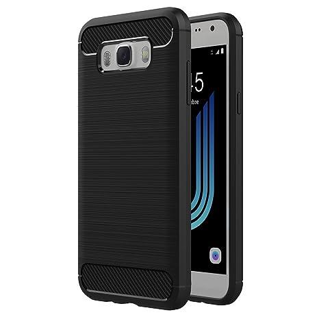 AICEK Funda Samsung Galaxy J5 2016, Samsung J5 2016 J510FN Funda Negro Gel de Silicona