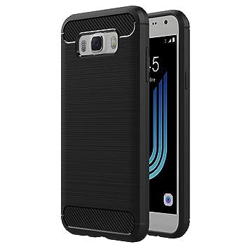 AICEK Funda Samsung Galaxy J5 2016, Samsung J5 2016 J510FN Funda Negro Gel de Silicona Galaxy J5 2016 Carcasa Fibra de Carbono Funda para Samsung J5 ...