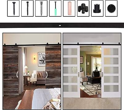 201CM/6.6FT Puerta de granero corredera estilo rústico puerta de granero corredera de madera para armario puerta granero herraje colgadocon guía rodamientos deslizantes, para puerta doble: Amazon.es: Bricolaje y herramientas