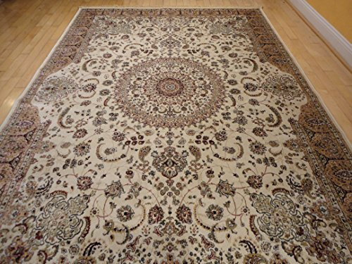 - Stunning Silk Rug Persian Traditional Area Rugs 7x10 Living Dining Room Ivory Rugs Luxury 6x9 Silk High Density Living Room Rugs(large 7'x10')