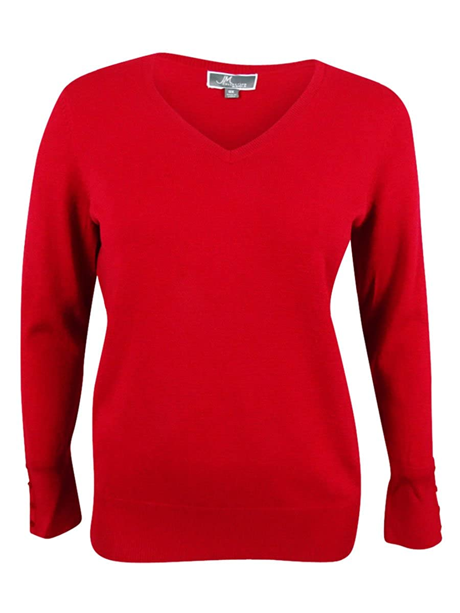JM Collection Womens Plus Size V-Neck Sweater