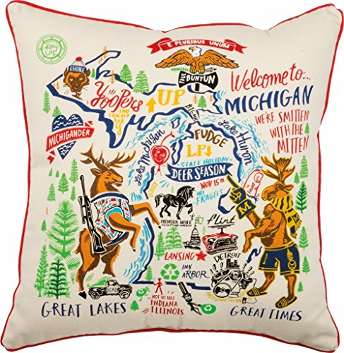 Michigan State Art Pillow Primitives by Kathy 20 x 20
