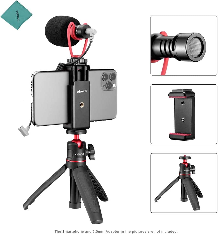 ulanzi Kit de Video para teléfono Inteligente 2 con Mini trípode de Escritorio Extensible + Soporte para teléfono Ajustable + micrófono de Video para teléfono Inteligente Vlogging