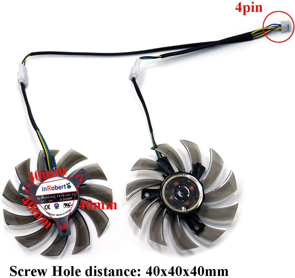 FD7010H12S 75mm DC 12V 0.35A 40mm 5Pin Graphics Video Card Cooling Dual Fan