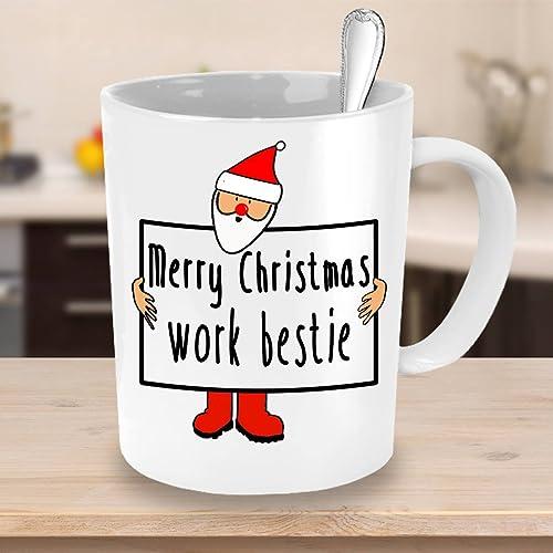 Amazon.com: Funny Christmas Mug, Merry Christmas, Work Bestie\' Tea ...