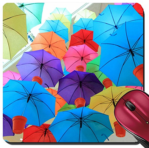 Liili Suqare Mousepad 8x8 Inch Mouse Pads/Mat Colorful umbrellas at a shopping mall in Melbourne Australia Image ID - Cheap Shopping Melbourne