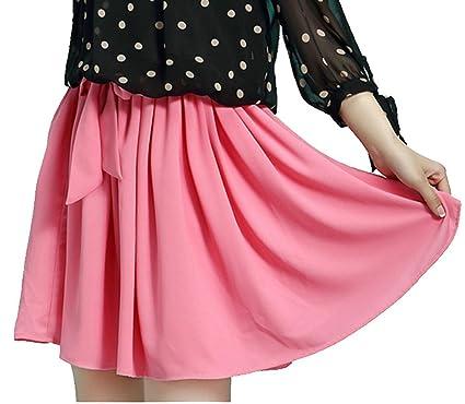 Mädchen Damen Rock kurz Sommer Chiffonrock mit Gürtel Faltenröcke Minikleid  Tüllrock Kurz Skirt (Rosa) 3acbbcfcea
