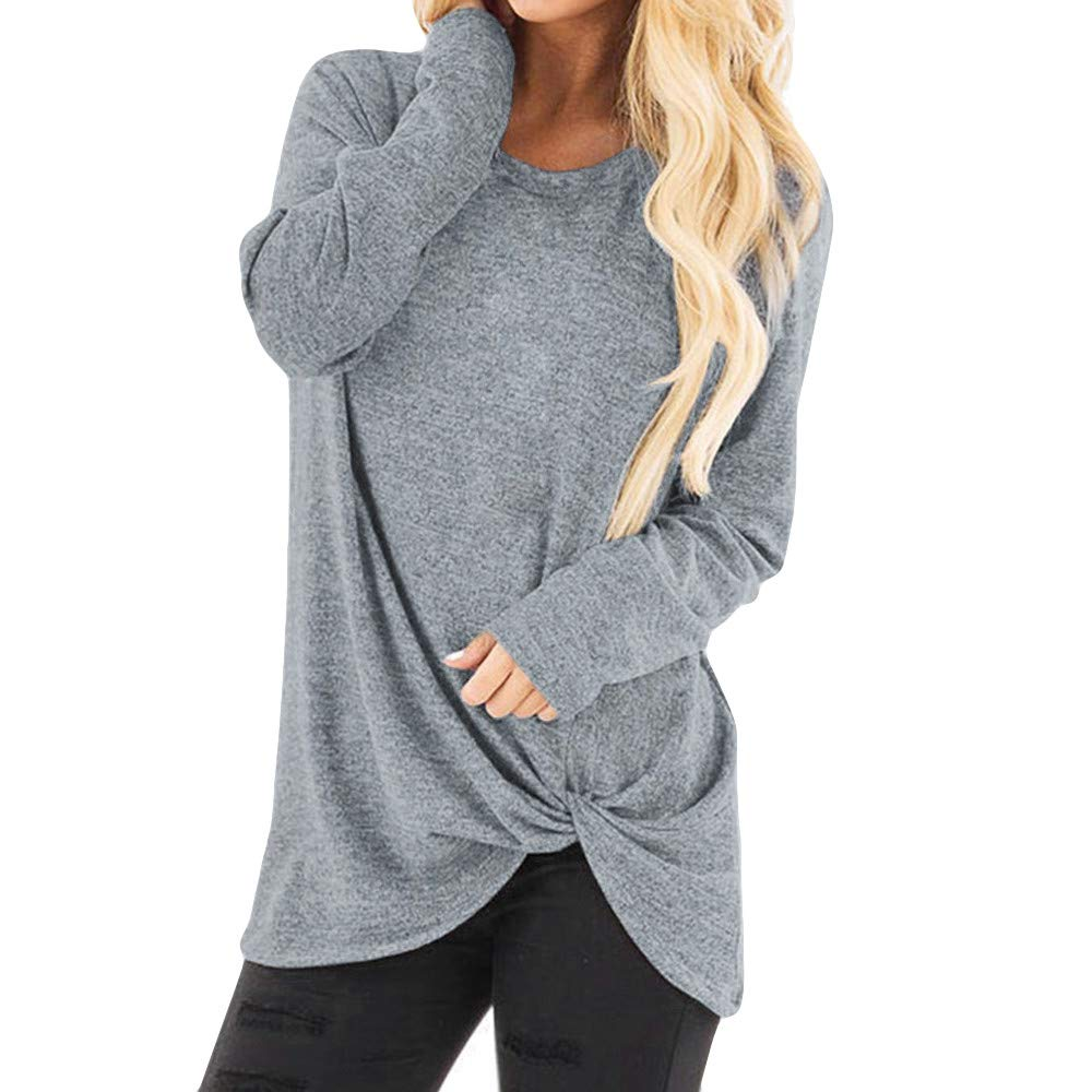 Women's Casual Comfy Long Sleeve Side Twist Knotted O Neck Tops Blouse T Shirt