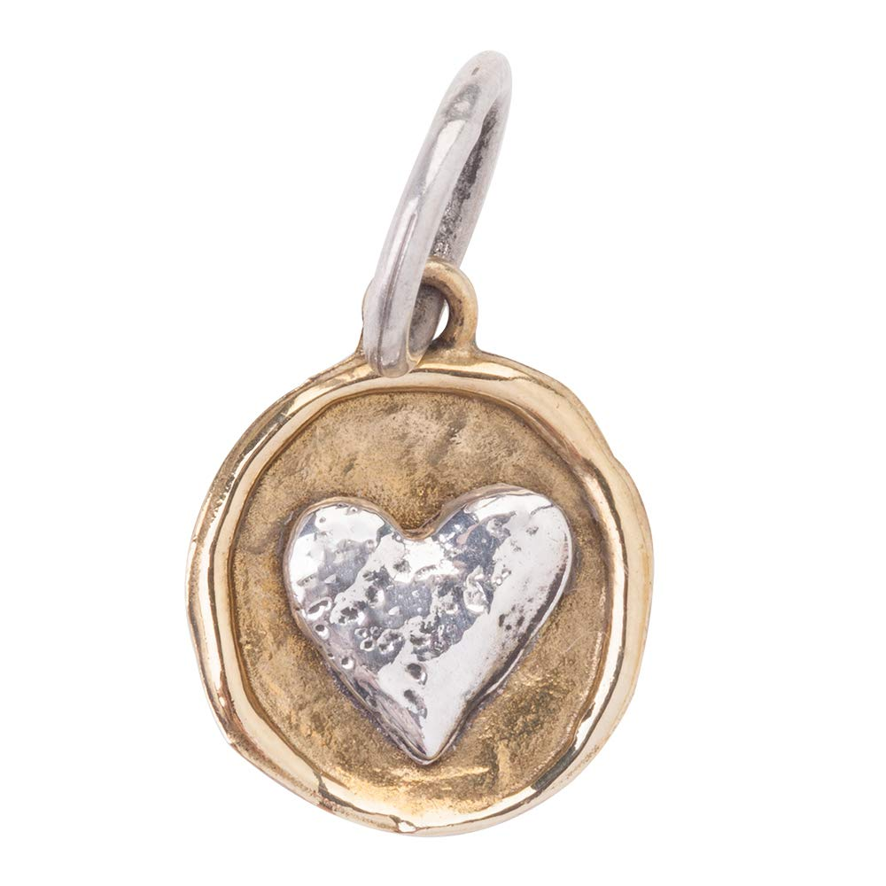 Waxing Poetic Camp Brass and Sterling Silver Heart Charm