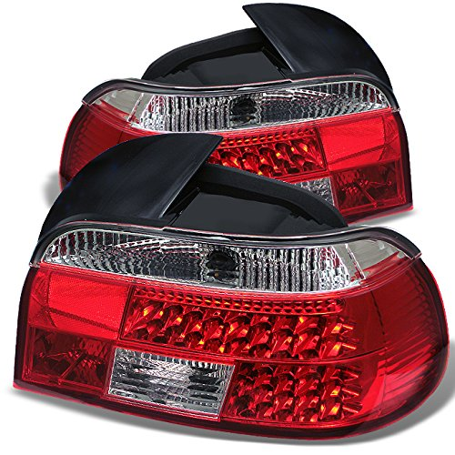 For 1997-2000 BMW E39 5-Series Rear Red Clear LED Tail Lights Brake Lamps Replacement Pair Left + Right ()