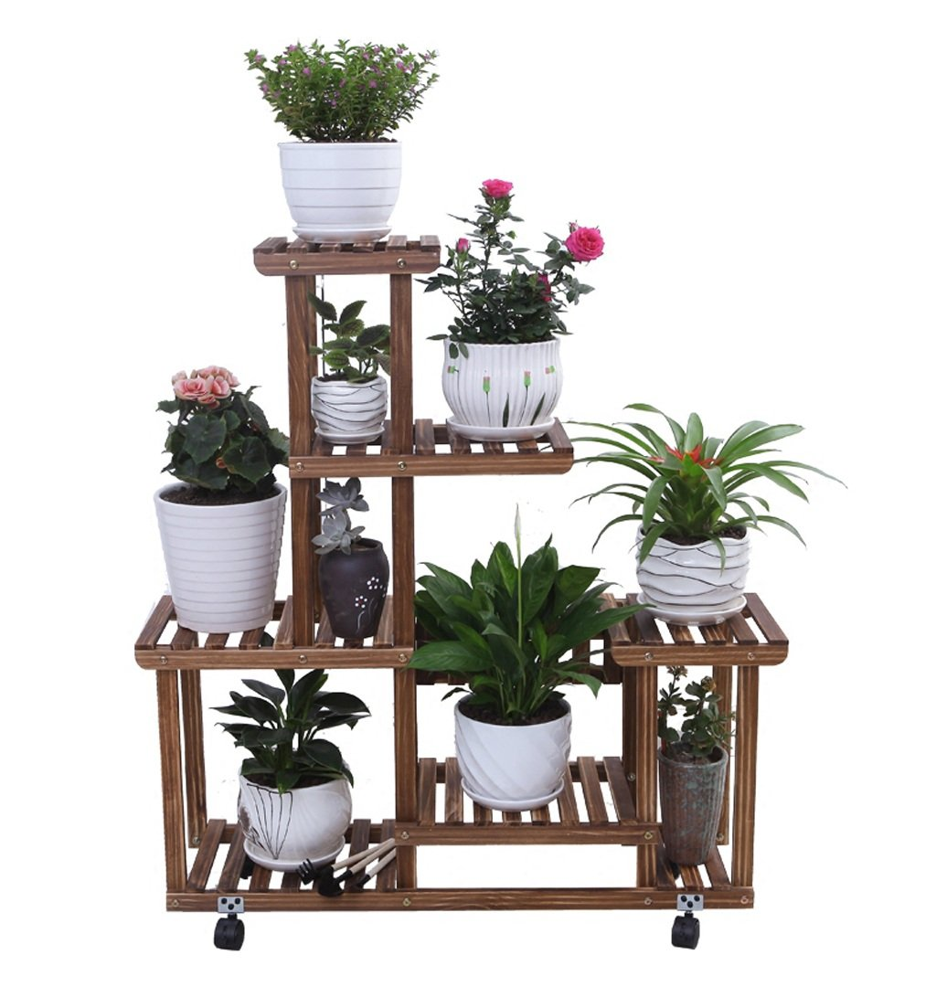 Amazon.com : ZENGAI Solid Wood Flower Racks Move The Pulley Indoor Assembly Pots Showcase, 2 Colors Plant Container (Color : 2#, Size : 852596cm) : Garden & ...