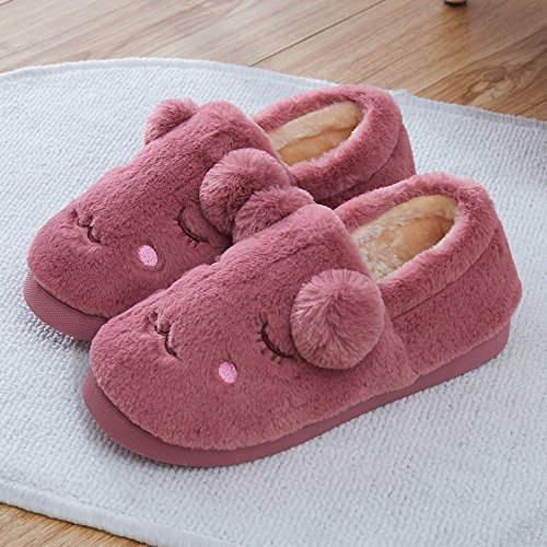 Aemember Autumn And Winter Cotton Slippers Bag With Indoor Home Furnishing Thick Warm Non Slip Home,36/37 (Suitable For 35/36 Feet At Ordinary Times),Snow Bud Color