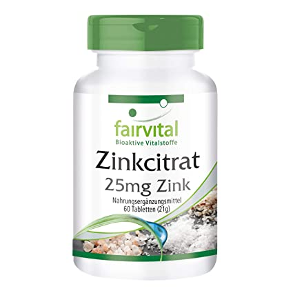 Citrato de zinc con zinc 25 mg - para 2 meses - VEGANO - Alta dosificación