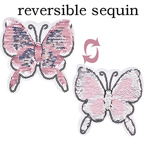 HOODS 1PC Butterfly Reversible Change Color Sequin Sewing on Patches Clothes DIY Embroidered Motif Applique Craft Perfect for Jeans, T-shirts Color Pink