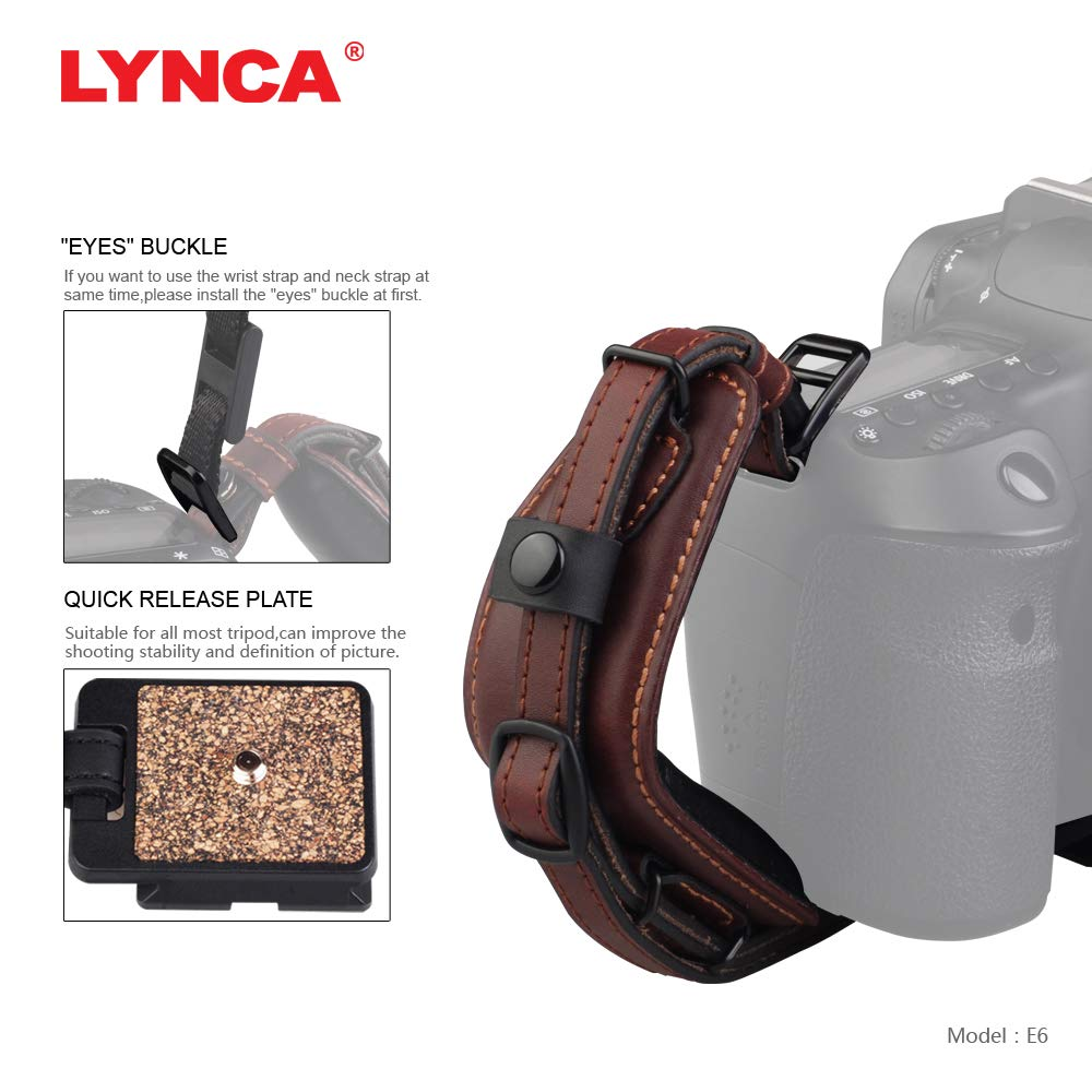 Lynca DSLR Camera Leather Wrist Strap Comfort Padding with Quick Release Plate, Superior Hand Grip Stability and Security   for All DSLR SLR and Digital Cameras by LYNCA