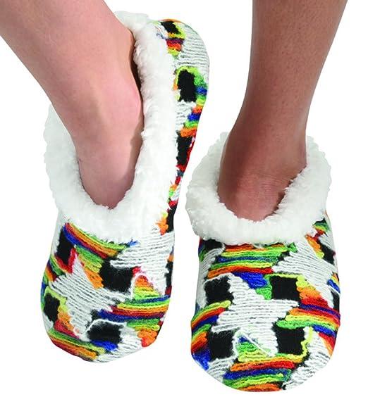 8490685c079 Snoozies Womens Multi Artisan Comfy Soft Fleece Slipper Socks - Rainbow  Houndstooth