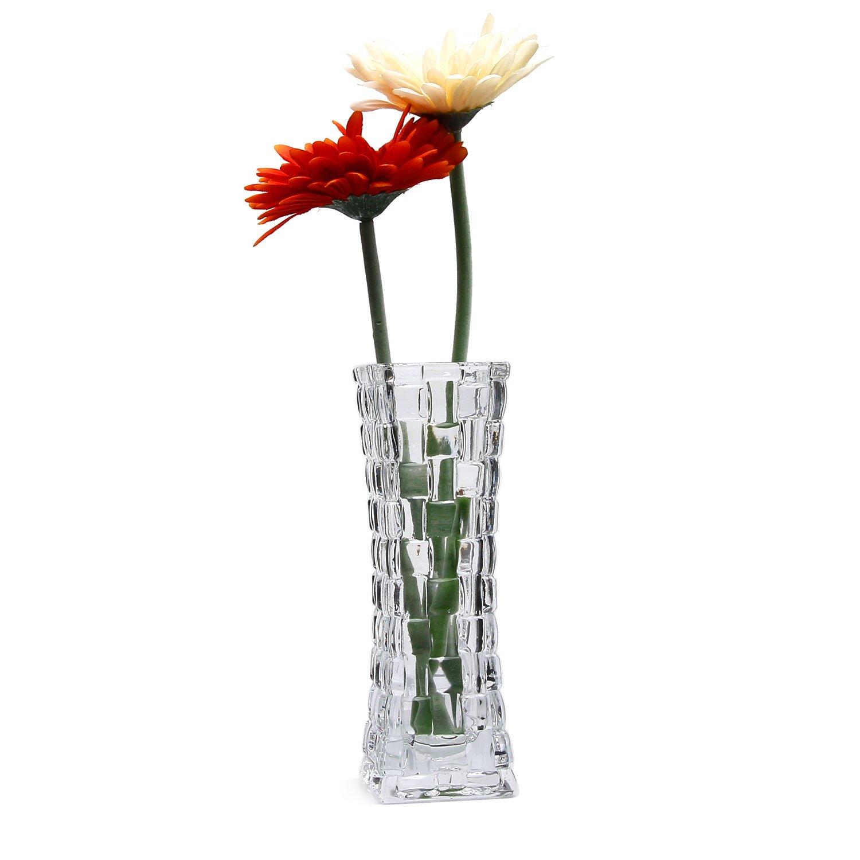 225 & 7 Inch Crystal Glass Vase Rattan Design Clear Flower Bottle Pack of 2