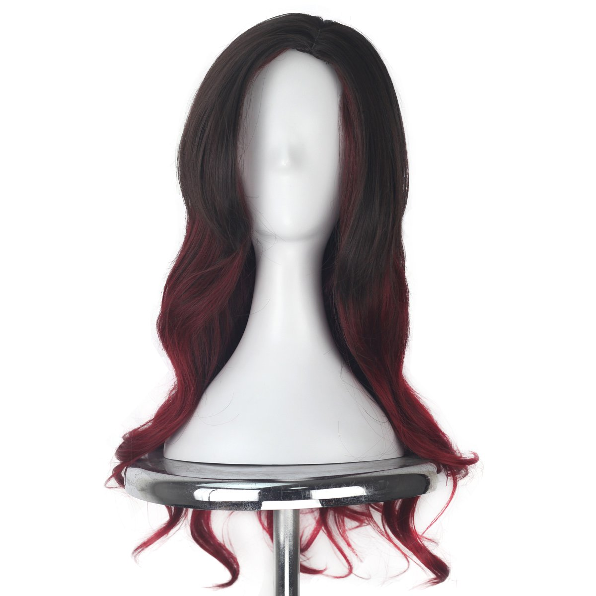 Women Long Wavy Ombre Brown Dark Red Color Side Part Scalp Cosplay Costume Halloween Wig