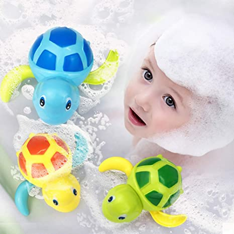 Deerbb Baby Tub Bath Toys Wind Up Sea Turtle 3pcs for Toddlers Boys Girls,Swimming Turtle for Pool Bathroom Play Fun for Kids Bathtub Children Bath Time Best Infant for 1 2 3 Years yr Old