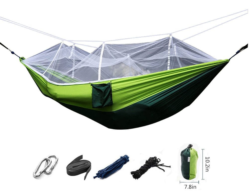 Maibuキャンプハンモックwith Mosquito Netコンパクト軽量ポータブルリップストップナイロン旅行ハイキングHammock B01MQSWJSP Green&Dark Green Green&Dark Green