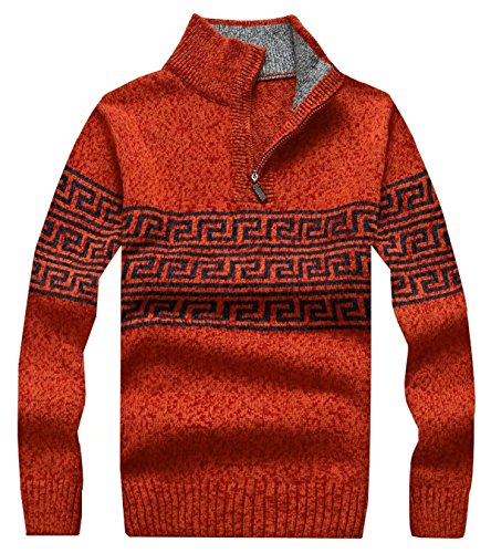 EMAOR Men's Casual Quarter Zip Striped Pullover Sweater Knitwear