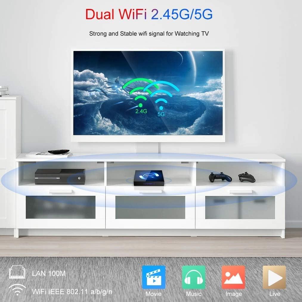 Android TV Box, QPLOVE Q6 Android 10.0 TV Box 4GB RAM 32GB ROM H616 Quad-Core CPU Mali-G31 Soporte 3D 6K Dual WiFi 2.4/5GHz Bluetooth 5.0 H.265 Ethernet 100M DLNA Smart TV Box: