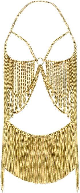 Gold body chain  body jewelry  shoulder chain  belly chain  set  body jewelry  festival costume*195