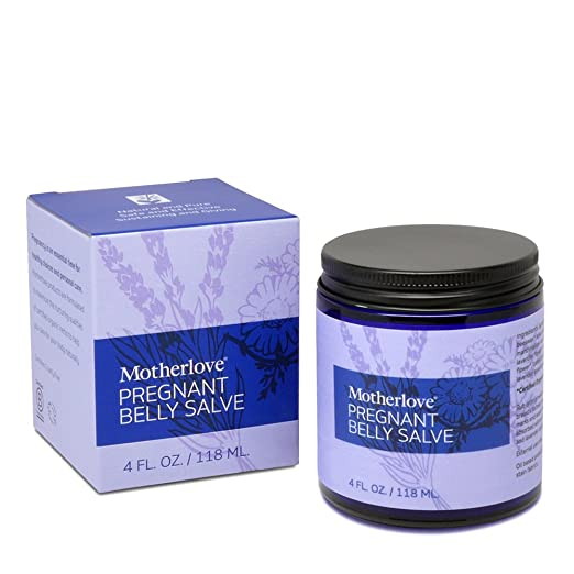 Motherlove Pregnant Belly Salve with Organic Shea Butter for Stretch Mark Prevention, 4 oz Jar