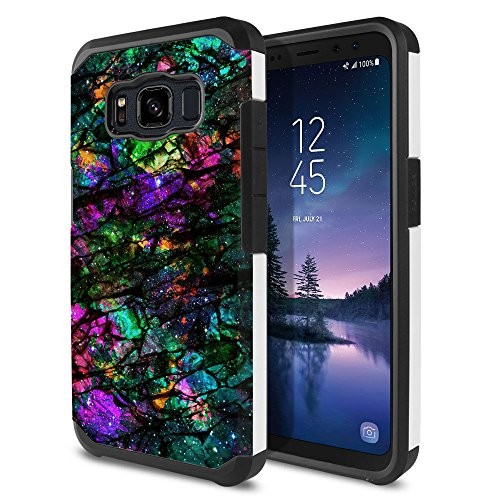 FINCIBO Case Compatible with Samsung Galaxy S8 Active G892A 5.8 inch, Dual Layer Hard Back Hybrid Protector Case Cover TPU for Galaxy S8 Active (NOT FIT S8/ S8 Plus) - Purple Green Galaxy Marble