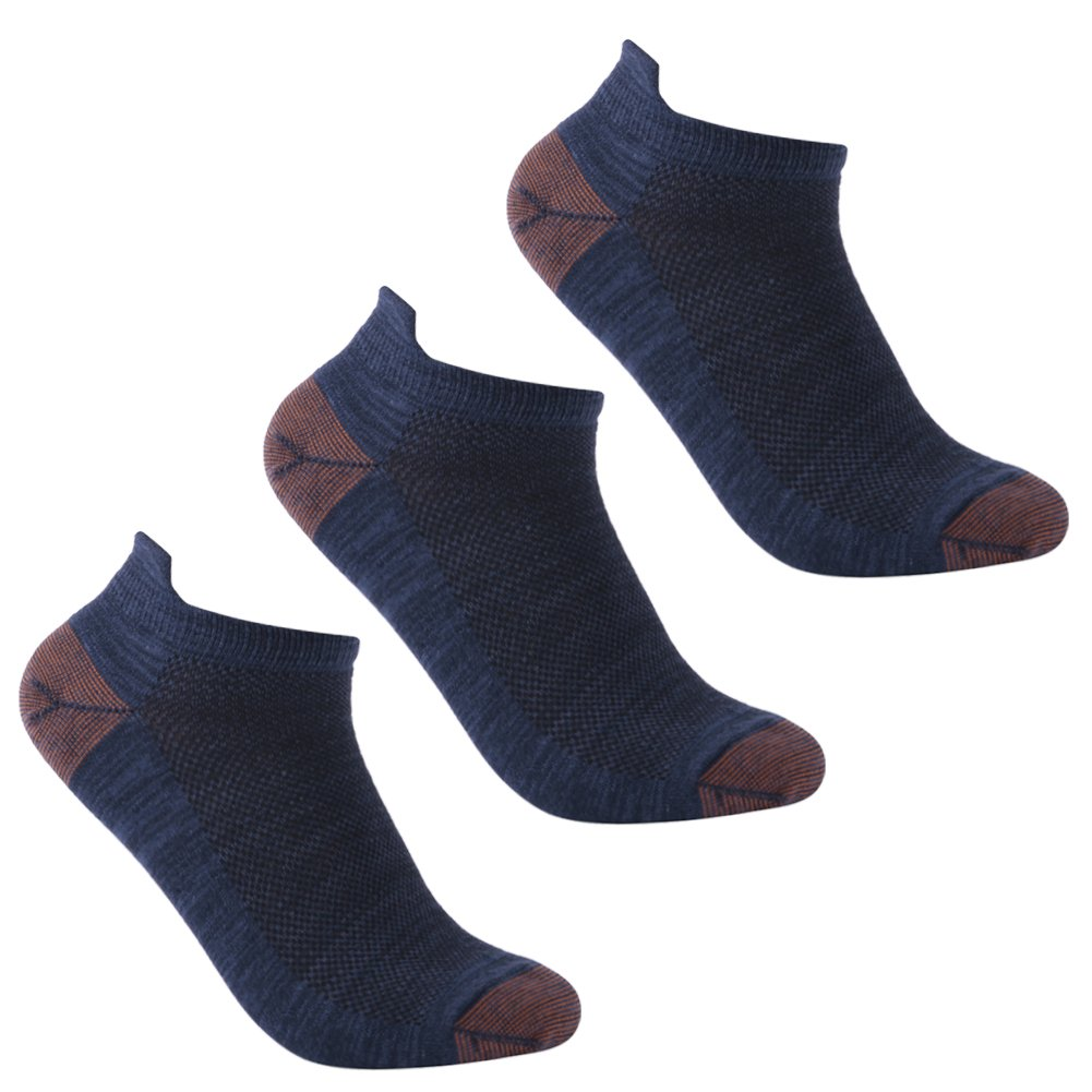 luccalilyユニセックスヒールタブMoisture Wickingローカットカジュアルスポーツ靴下1 , 3ペア B07B8F54M6 Medium|3 pair deep blue 3 pair deep blue Medium