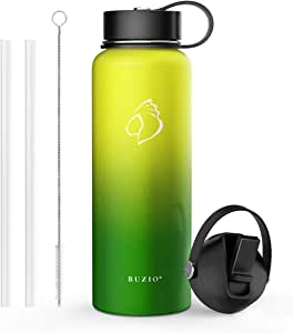 BUZIO Double Wall Stainless Steel Sports Water Bottle, BPA-Free Flex Cap and Straw Lid, 40 Ounces, Neon