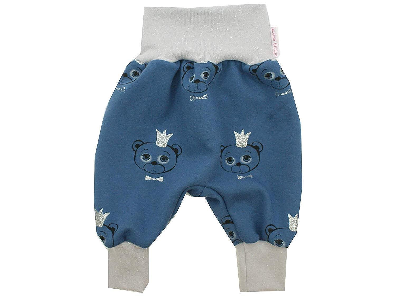 Glitzer Silber /· /Ökotex 100 Zertifiziert /· Gr/ö/ßen 50-164 Kleine K/önige Pumphose Baby Sweathose Jungen /· Modell B/är King Junior blau