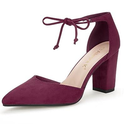 ba8853d37fa Allegra K Women s Ankle Tie Chunky Heel Pointed Toe Dress Point Toe Dress  Burgundy Pumps -
