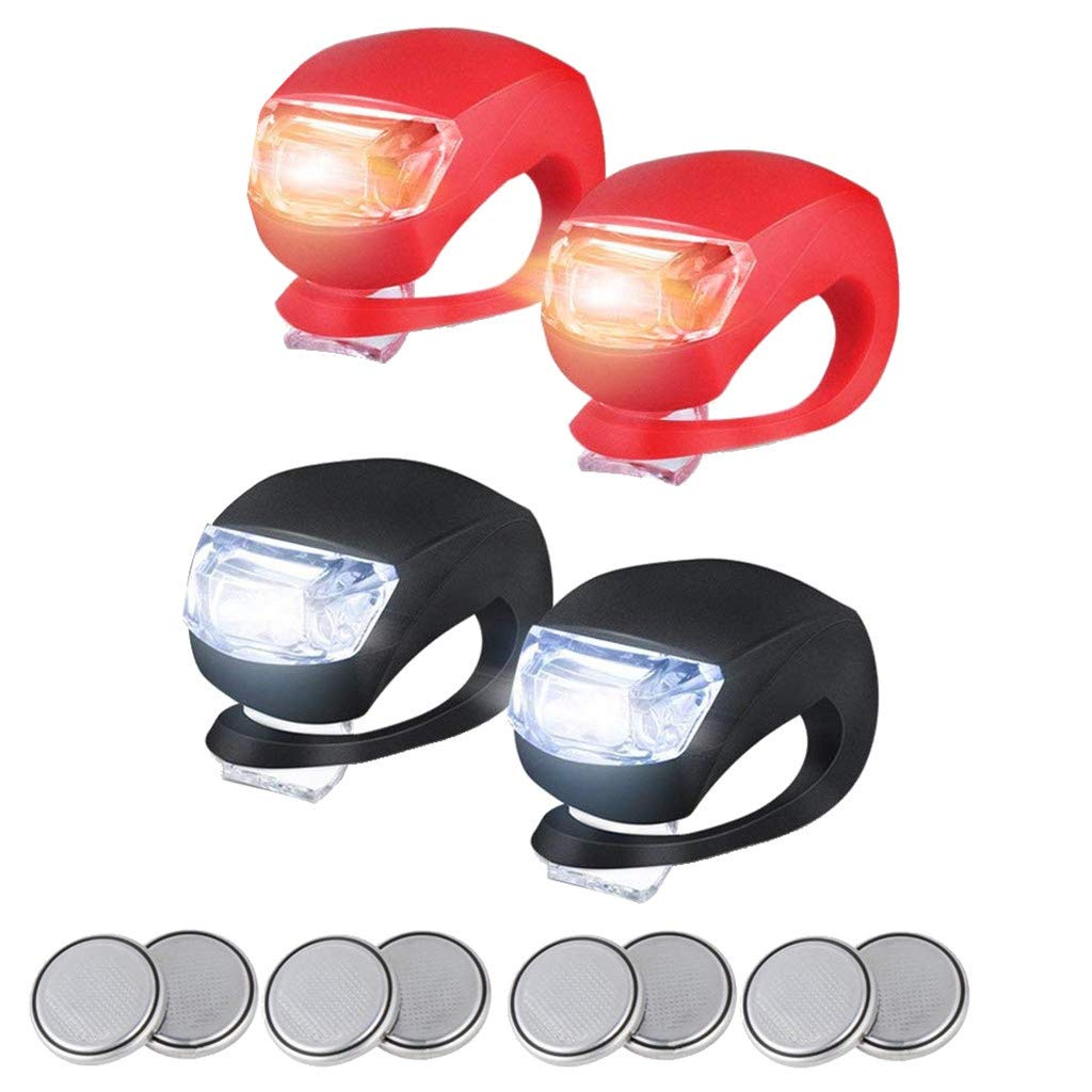 Cycling and Camping 2Pcs//Red+Black Front and Rear Silicone LED Bike Light Set Bicycle Light Bike Lights for Night Rider Super Bright Headlight and Taillight Kit 3 Mode Setting /& Waterproof