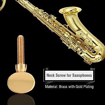 Cobre saxofón cuello 5pcs cobre cuello receptor de latón dorado tornillo de sujeción de tornillo para