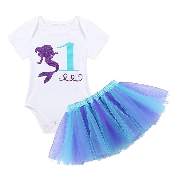 iiniim Bebé Recién Nacida Niña Primer Cumpleaño Pelele Algodón+ Falda Vestido Princesa Sirena Azul Falda Lunares