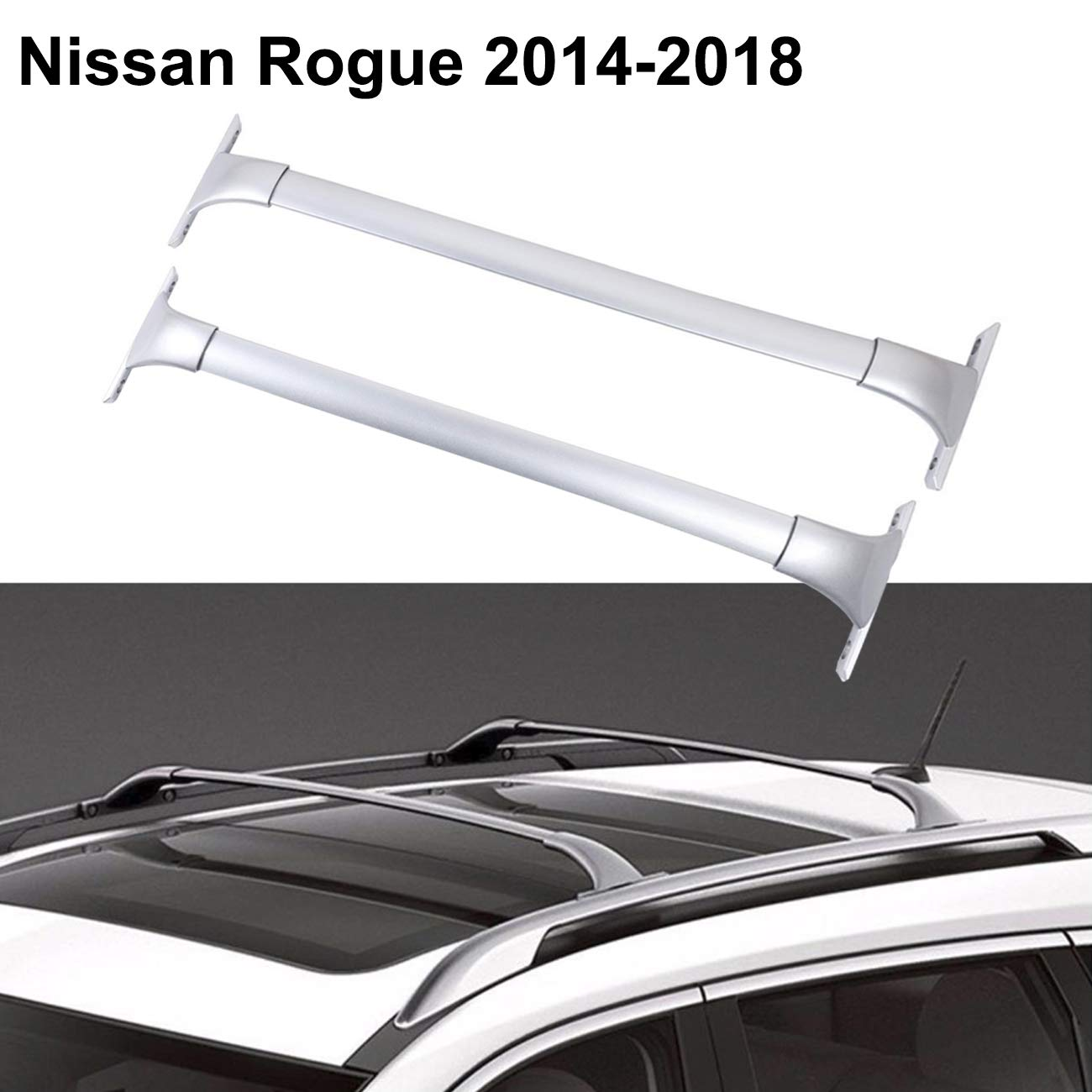 ALAVENTE Roof Rack for Nissan Rogue 2014-2018, Heavy Duty Cross Bars Top Roof Rail Roofrack Cargo Luggage Carrier (Pair, Silver)